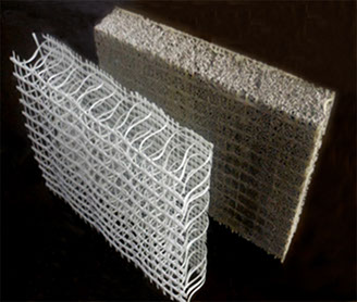 Pritchard foam cement panels are manufactured using a 3D woven fabric structural fiber reinforcement, filled with a modified cement foam.